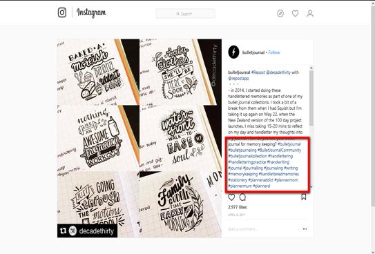 Penjen bullet journal hashtag